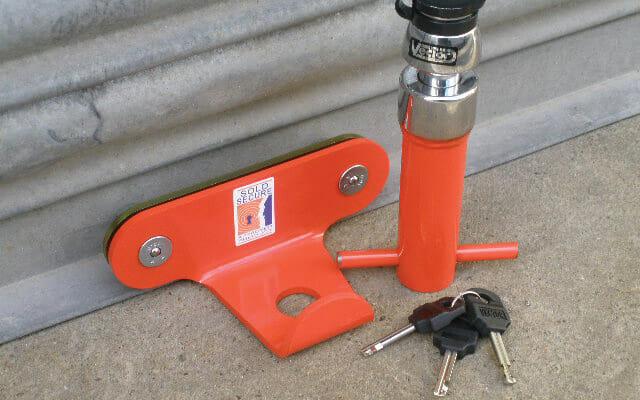 Garage Door Defender fitted on Roller Shutter door to stop Motorcycle thieves