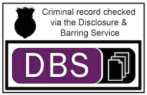 DBS Checked white logo image