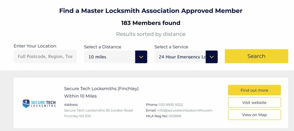 Locksmiths found near you
