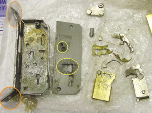 Image of 5 lever chubb mortice lock damaged