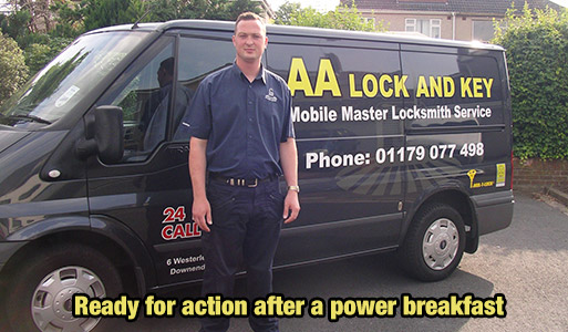 Craig Andres owner of AA Lock and Key in front of his locksmith van