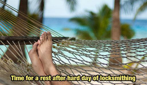 resting after hard days work image