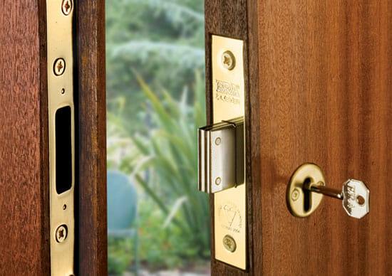 A lever operated mortice deadlock on wooden door