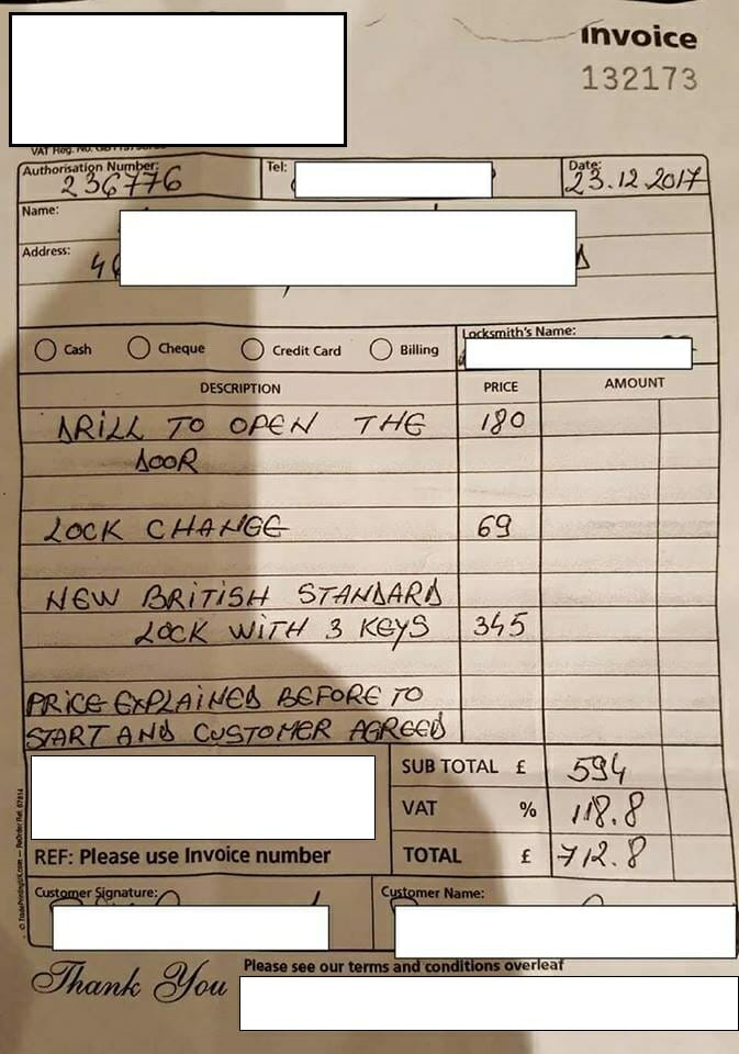 Locksmith ovecharged receipt