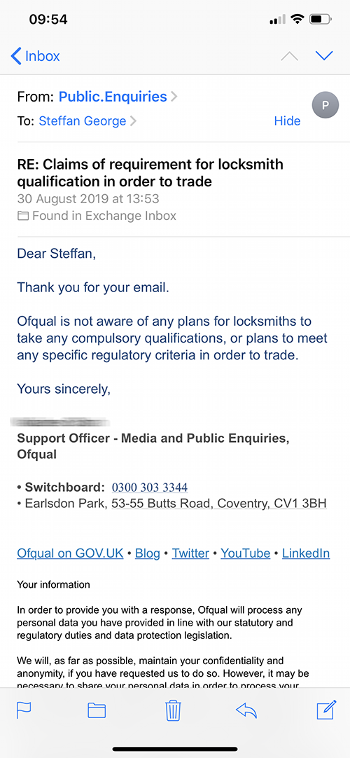 Locksmith-Qualication-Reply-from-Ofqual
