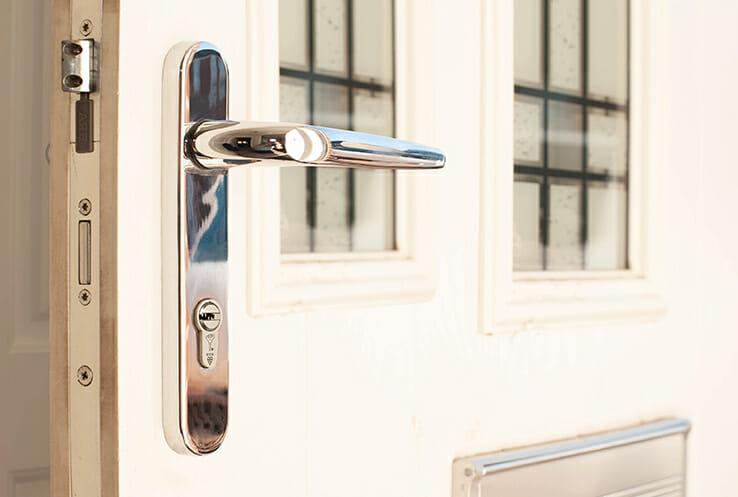 Anti Snap Lock with Door Handle fitted to UPVC Door