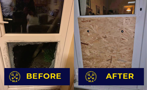 Boarding Up Smashed Window Glass on Door - Before and After