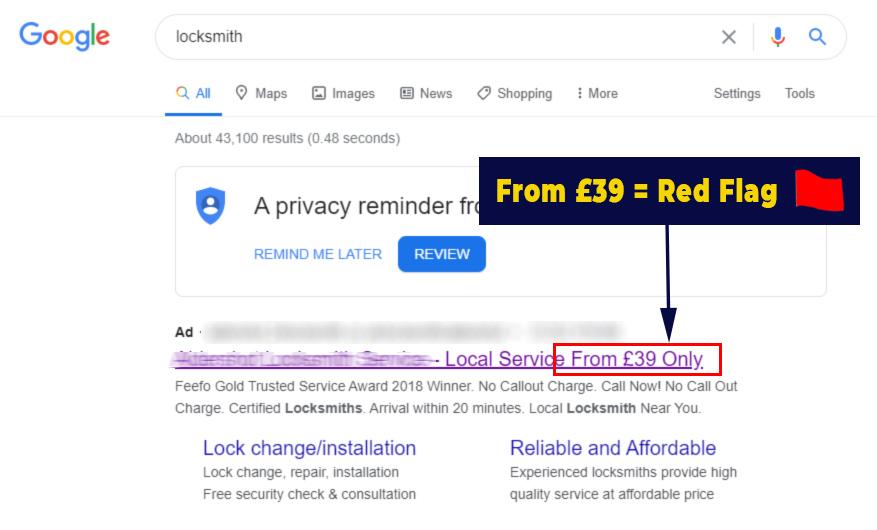Bait and Switch Locksmith Price Scheme £39 Locksmith Advert