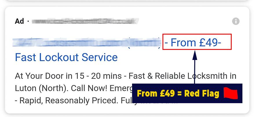 Bait and Switch Locksmith Price Scheme £49 Locksmith Advert