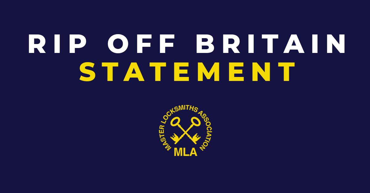 Statement on Rip Off Britain Programme (RogueLocksmiths)